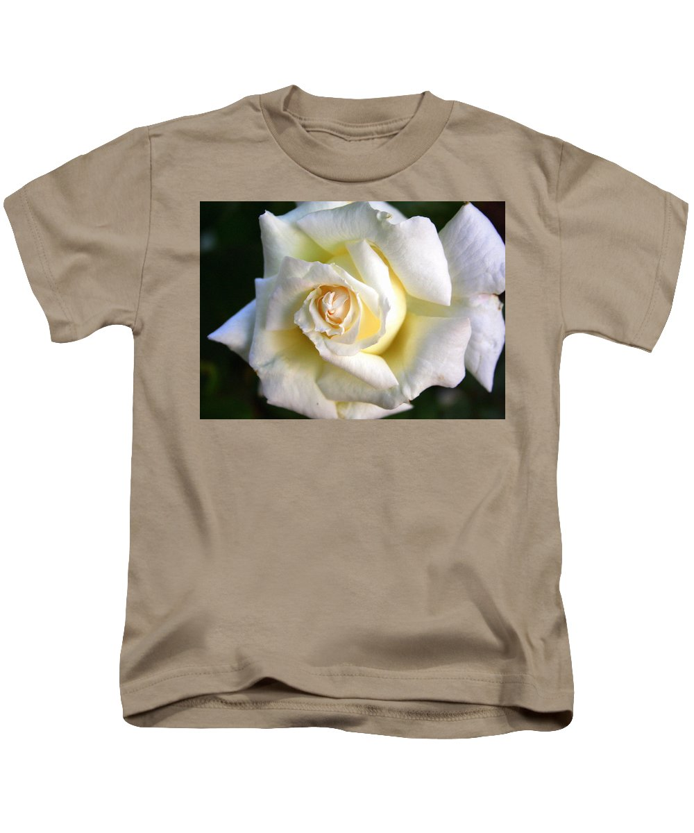 White Kids T-Shirt featuring the photograph White Rose by Laurel Talabere