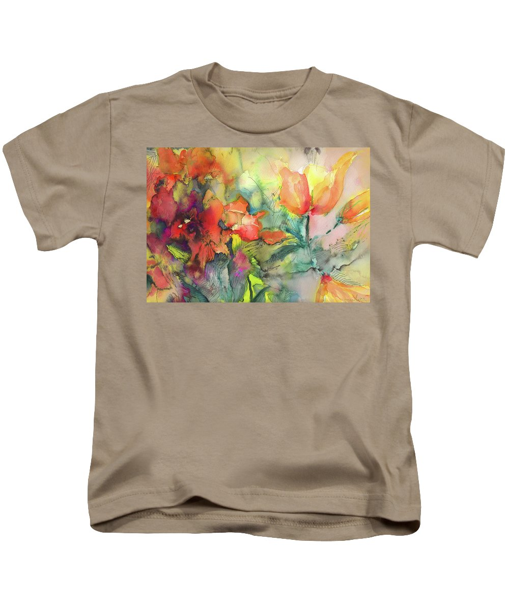 Floral Kids T-Shirt featuring the painting Wild Flowers 05 by Miki De Goodaboom
