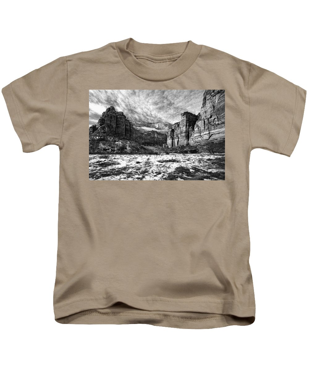 Mountain Kids T-Shirt featuring the photograph Zion Canyon - Bw by Christopher Holmes