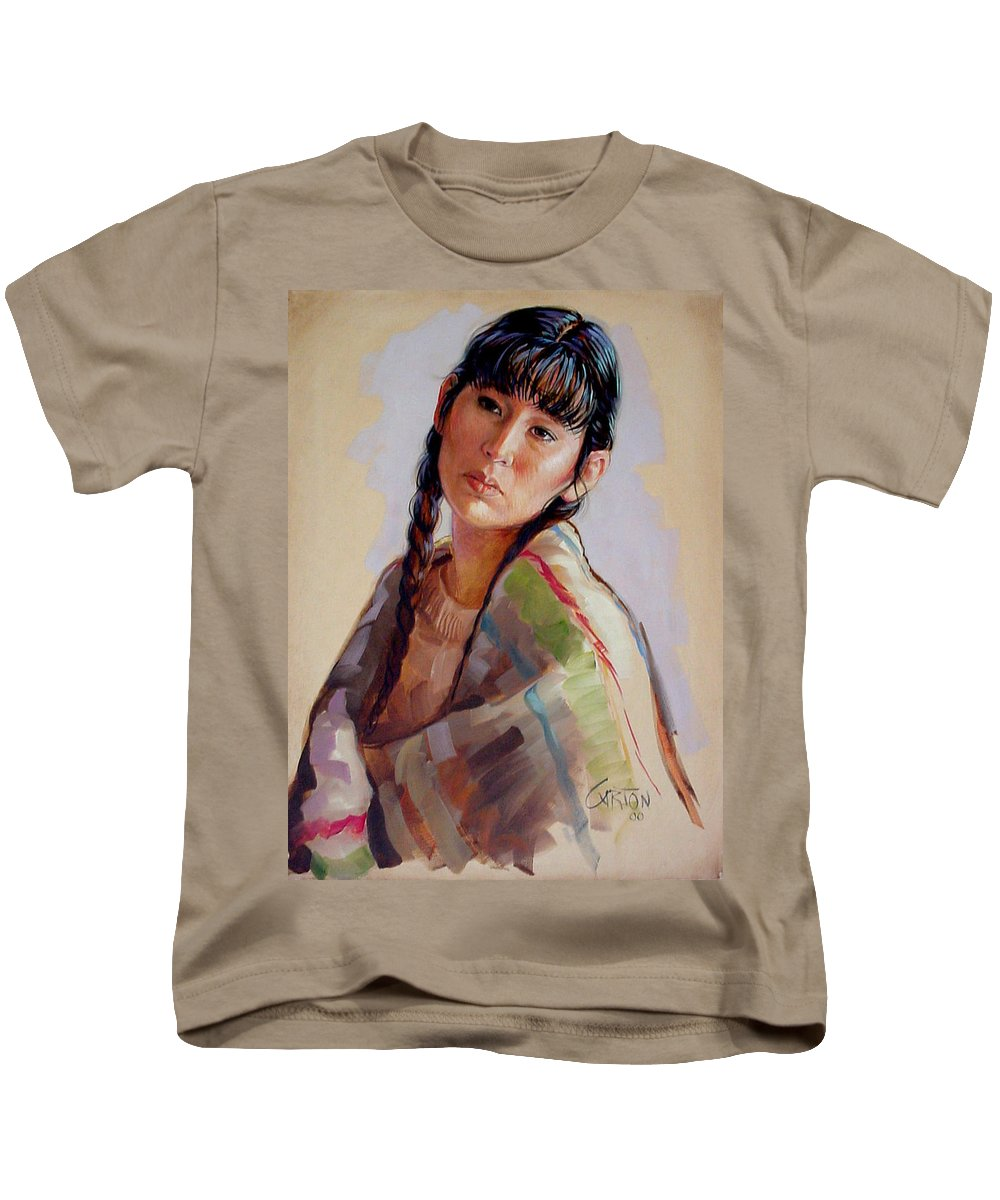 Sacajawea Kids T-Shirt featuring the painting Sacajawea  Study by Jerrold Carton
