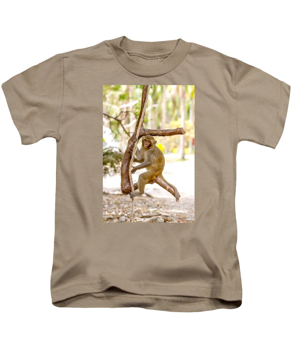 Dara Gor Kids T-Shirt featuring the photograph Swinging Monkey by Dara Gor