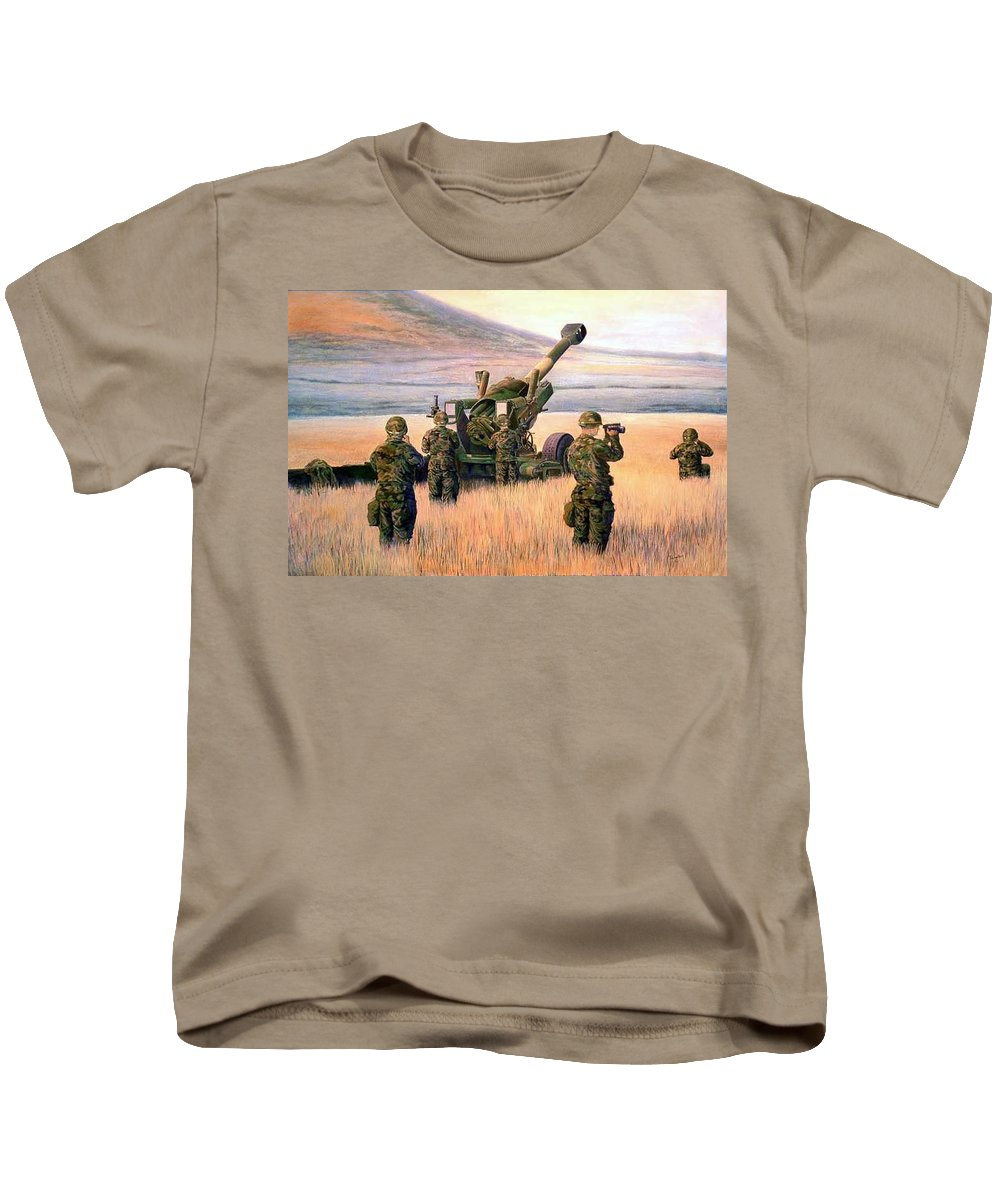 Signed And Numbered Prints Of The Montana National Guard Kids T-Shirt featuring the print 1-190th Artillery by Scott Robertson
