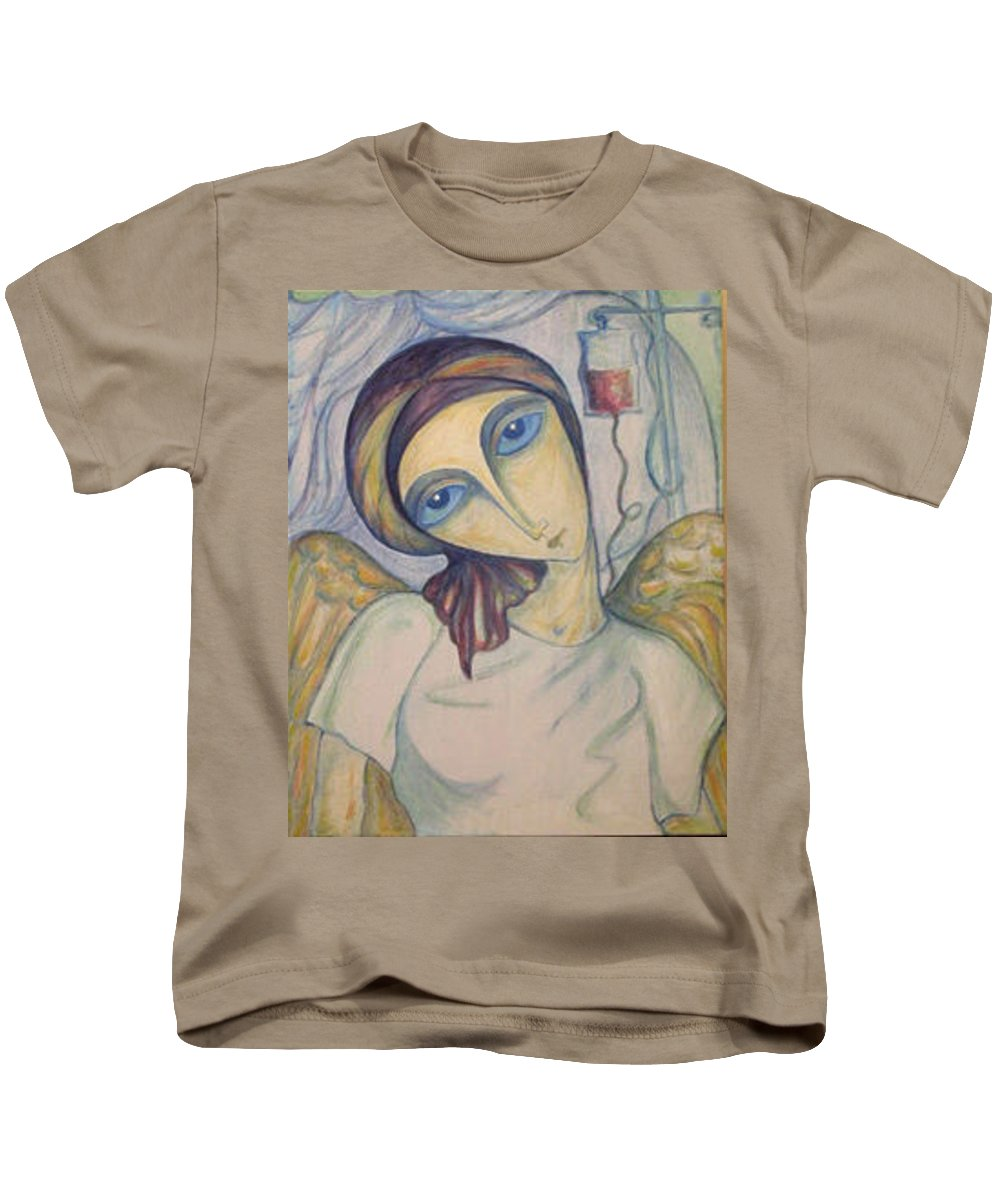 Original Kids T-Shirt featuring the painting Angel Of Mercy by Rae Chichilnitsky