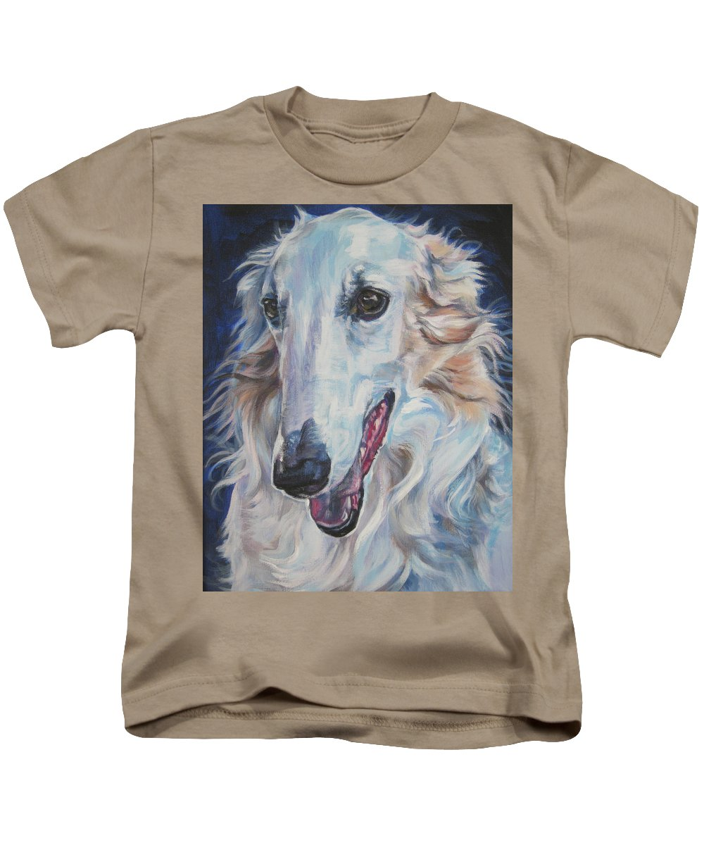 Borzoi Kids T-Shirt featuring the painting Borzoi by Lee Ann Shepard