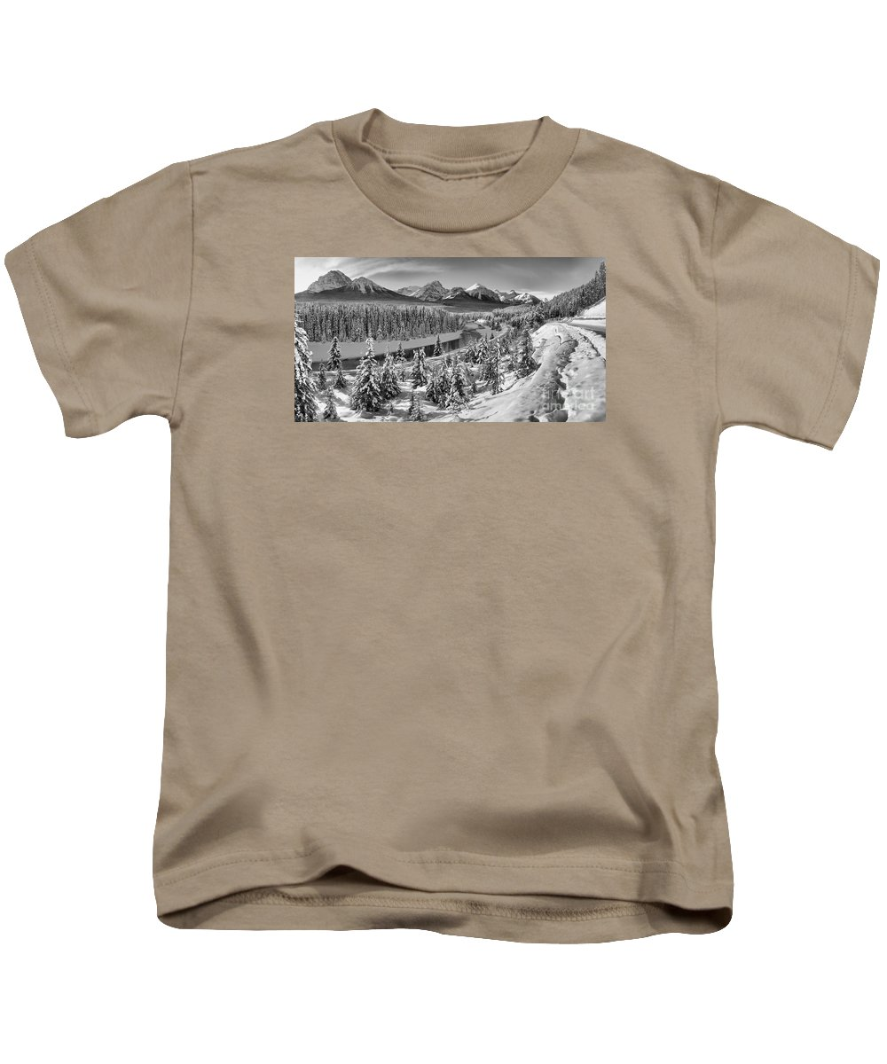 Kids T-Shirt featuring the photograph Bow Valley River View Black And White by Adam Jewell