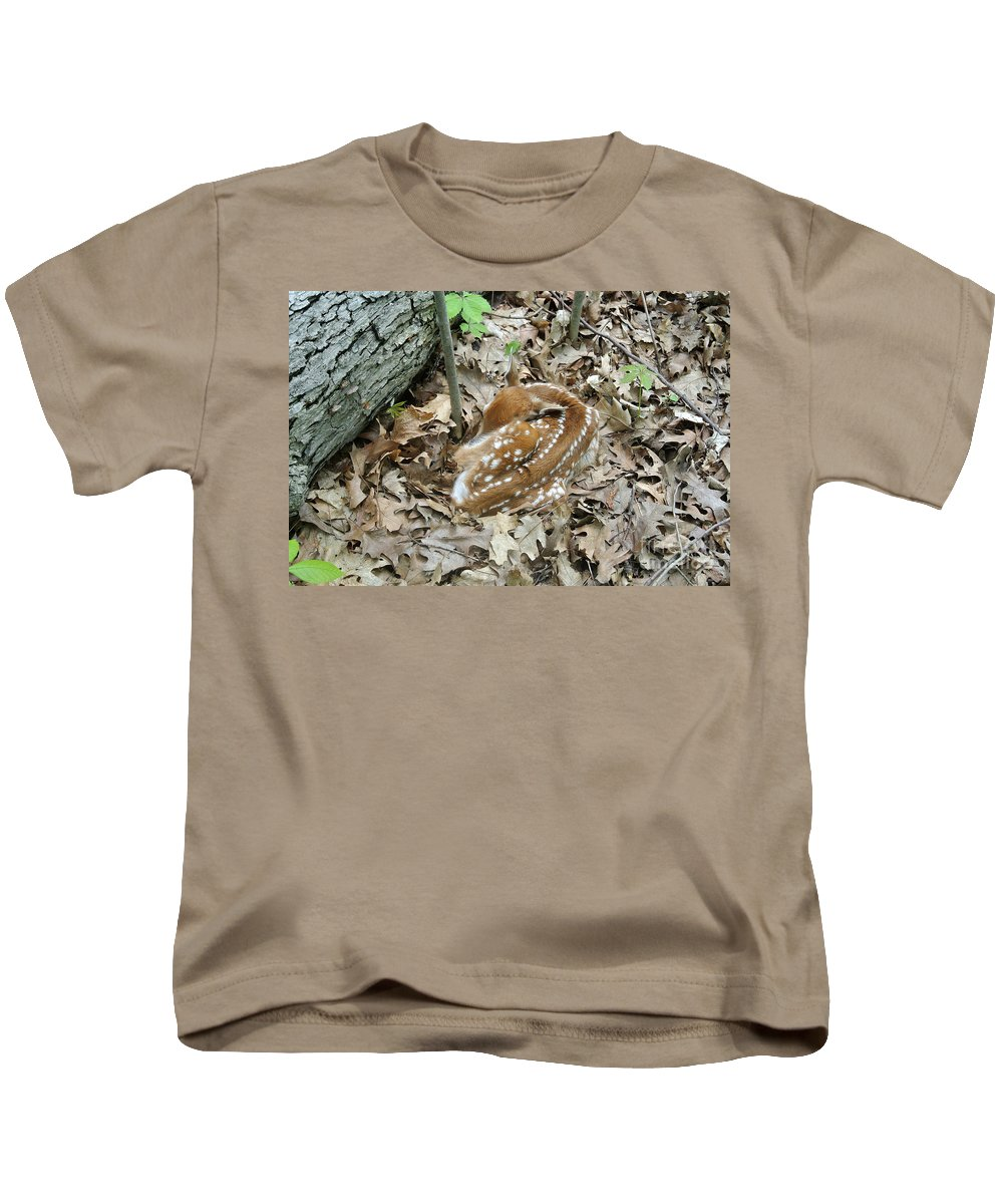 Animal Kids T-Shirt featuring the photograph Camouflaged Fawn by Ted Kinsman