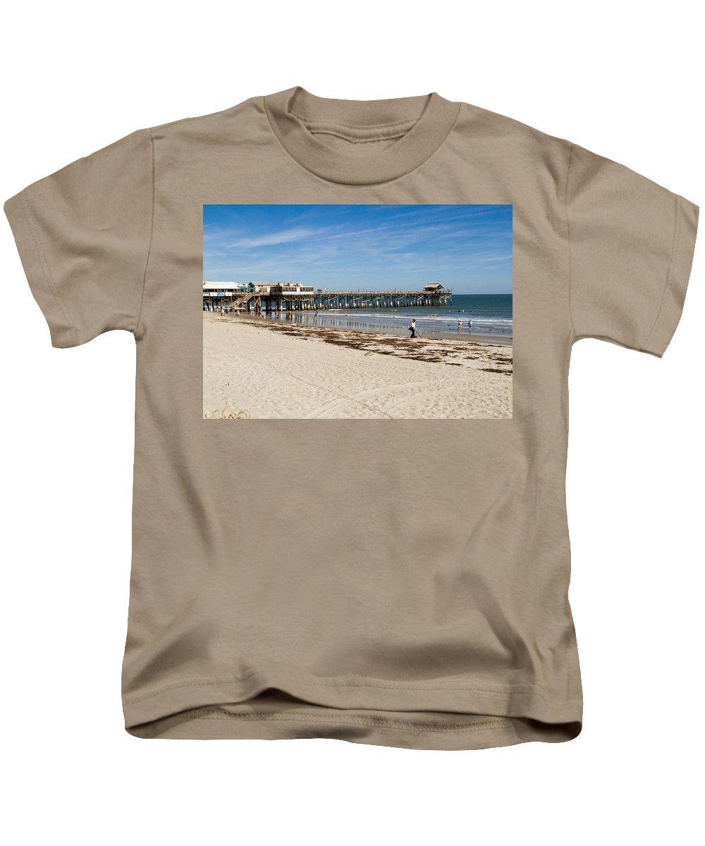 Florida; Cocoa; Beach; Atlantic; Ocean; East; Space; Coast; Brevard; Central; Pier; Surf; Surfing; F Kids T-Shirt featuring the photograph Cocoa Beach In Florida by Allan Hughes