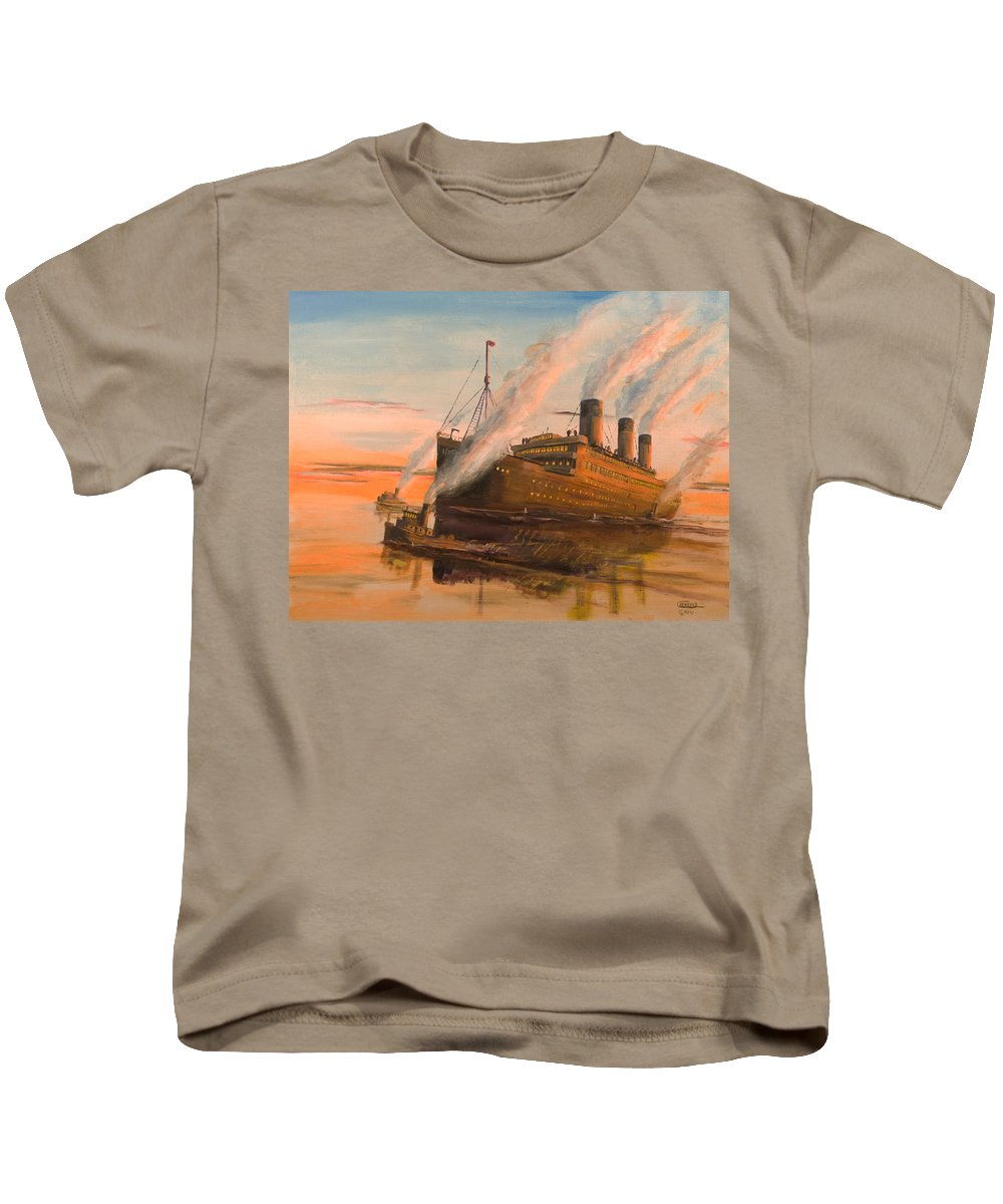 Ship Kids T-Shirt featuring the painting Evening Departure by Christopher Jenkins