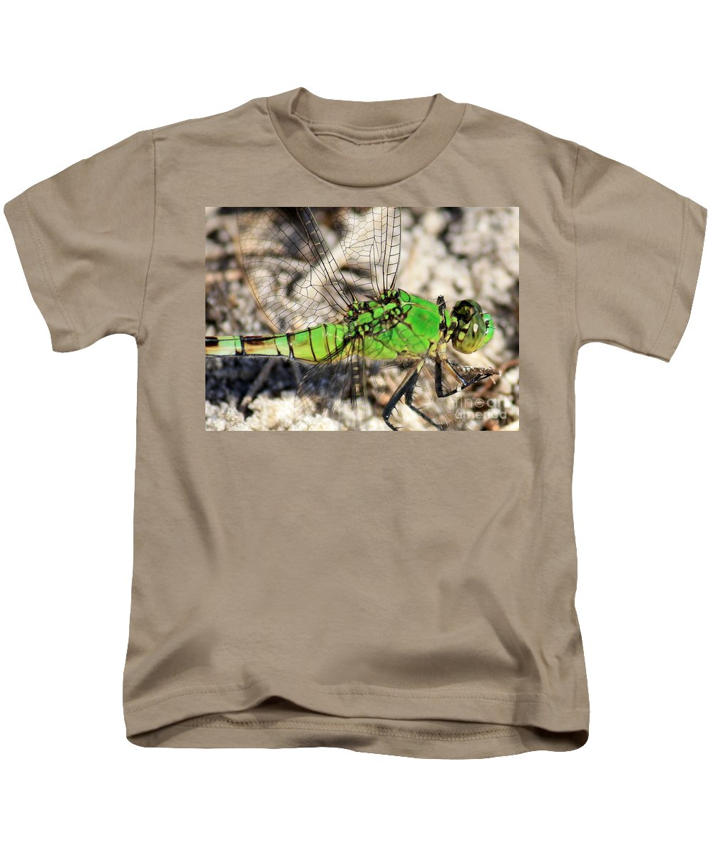 Dragonfly Kids T-Shirt featuring the photograph Green Dragonfly Closeup by Carol Groenen