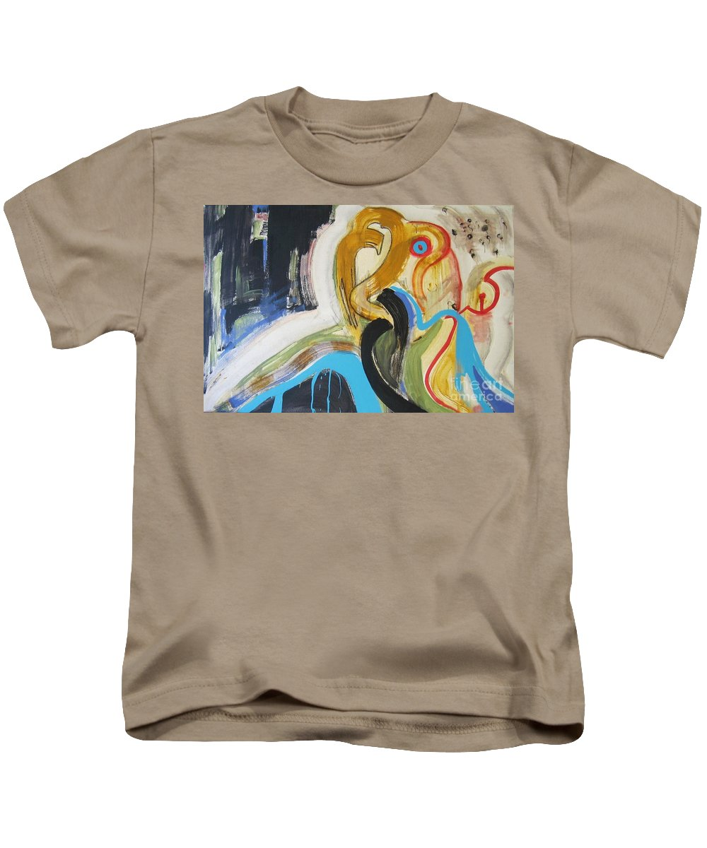 Abstract Art Paintings Kids T-Shirt featuring the painting Hard To Escape by Seon-Jeong Kim