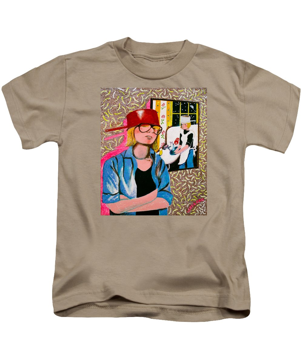 Humor Kids T-Shirt featuring the painting Housewife by Sharron Loree