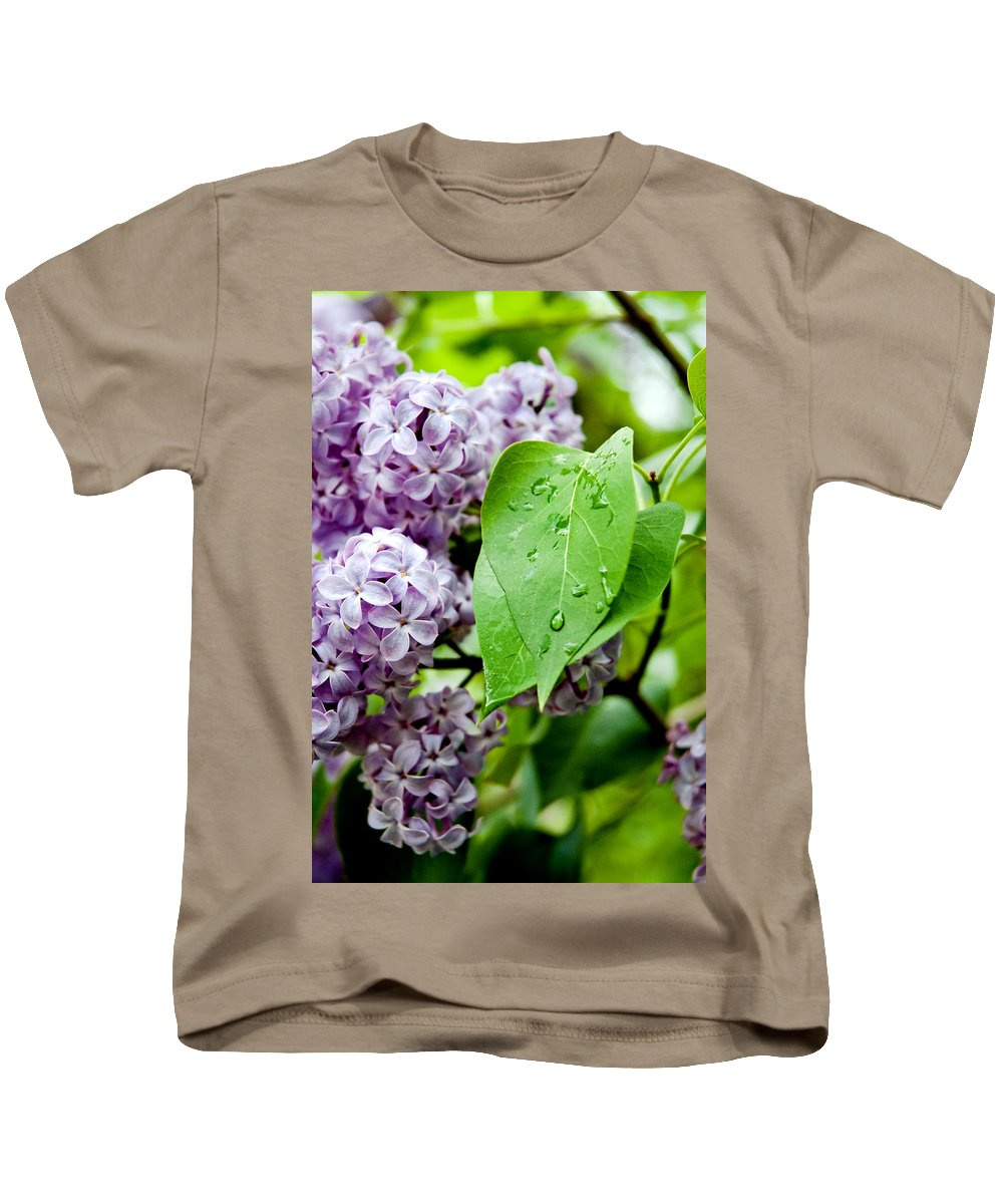 Lilac Kids T-Shirt featuring the photograph Lilac Drops by Greg Fortier