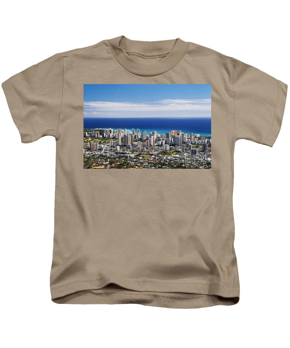 Above Kids T-Shirt featuring the photograph Lookout View Of Honolulu by Greg Vaughn - Printscapes