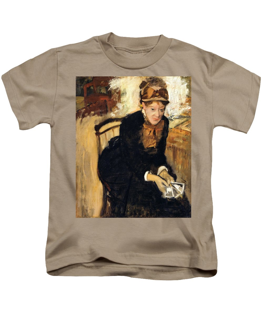 Lady Kids T-Shirt featuring the painting Mary Cassatt by Edgar Degas