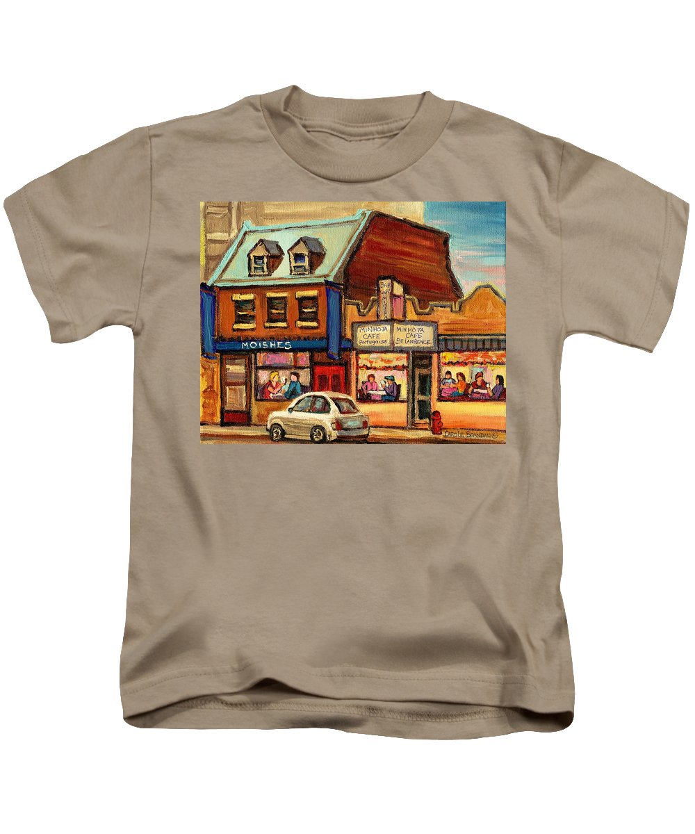 Moishes Kids T-Shirt featuring the painting Moishes Steakhouse On The Main by Carole Spandau