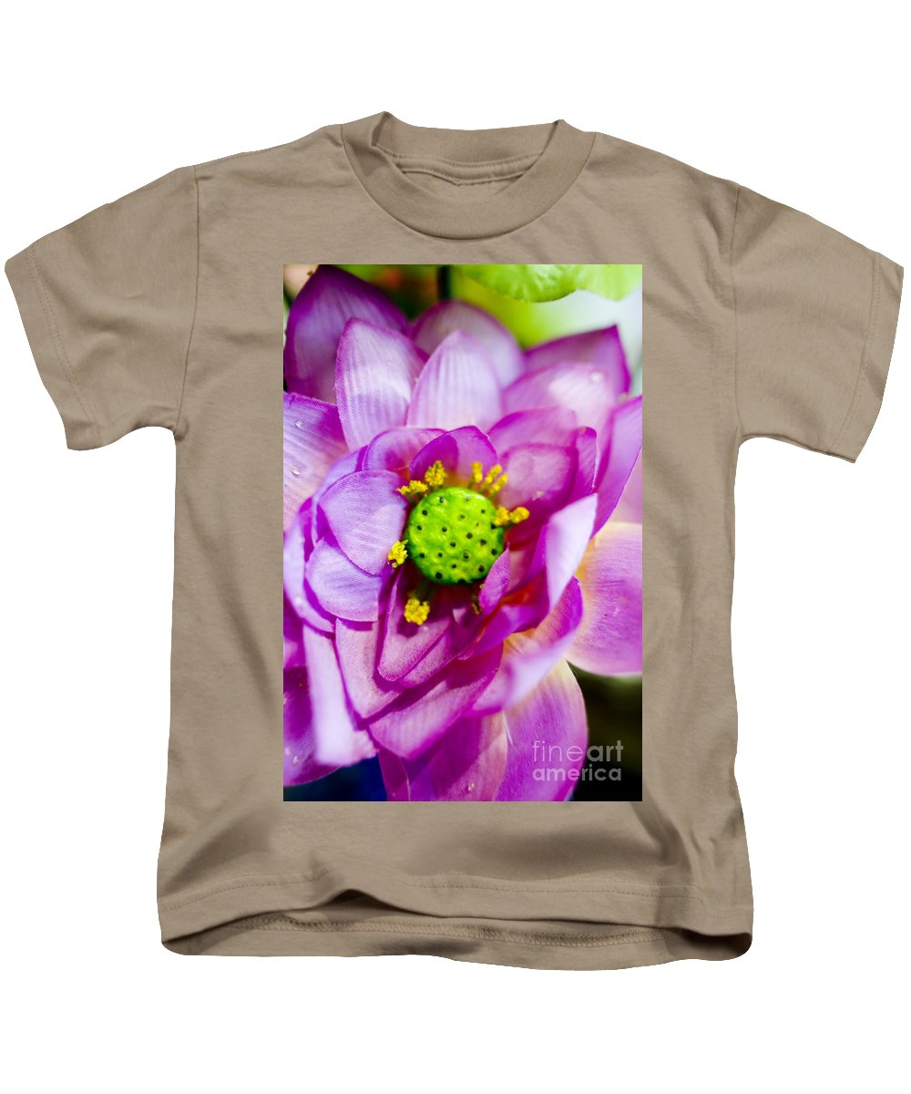 83-pfs0179 Kids T-Shirt featuring the photograph Pink Lotus by Ray Laskowitz - Printscapes