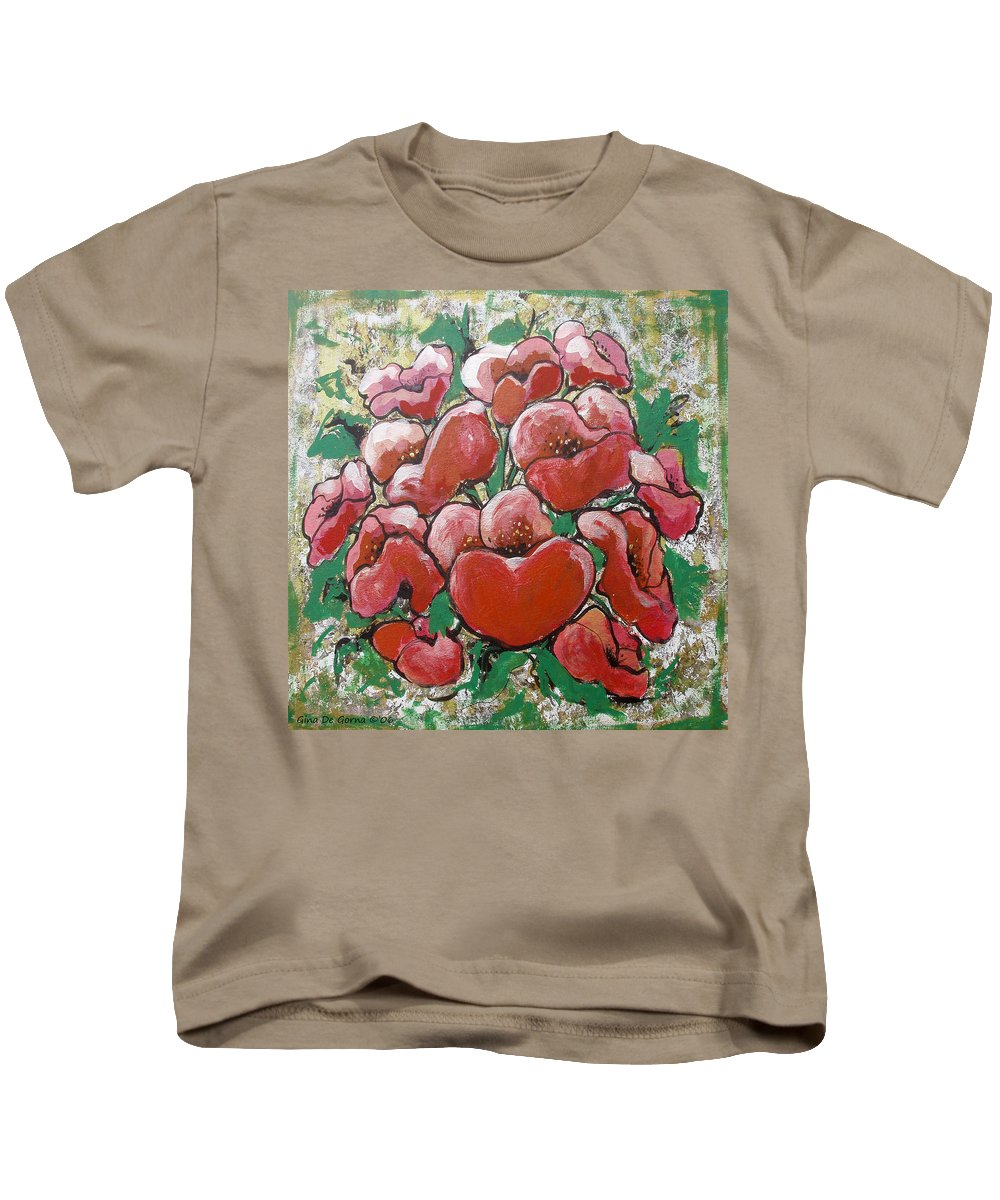 Poppies Kids T-Shirt featuring the painting Poppies by Gina De Gorna