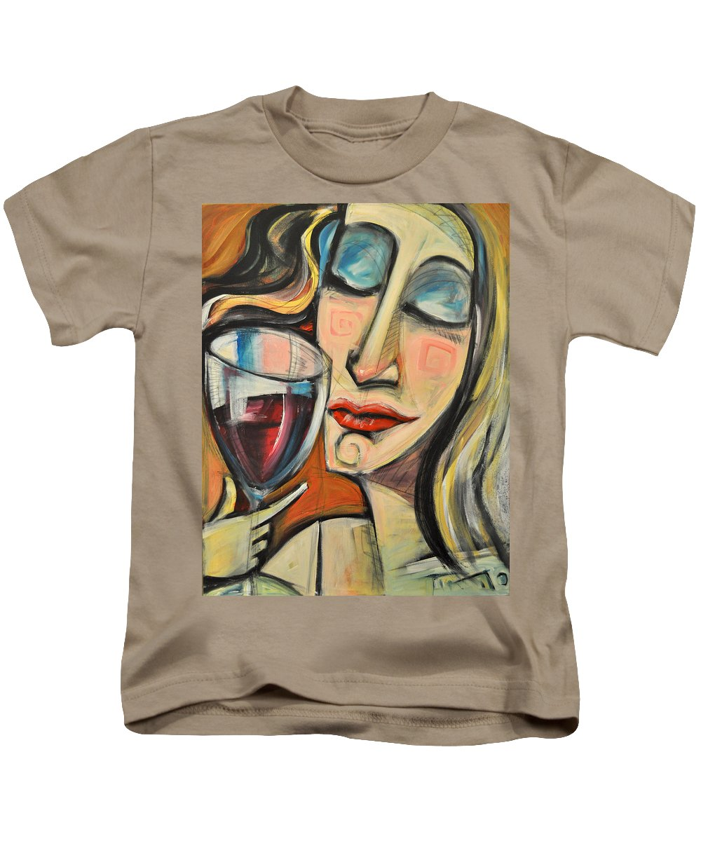 Wine Kids T-Shirt featuring the painting Savoring The First Sip by Tim Nyberg