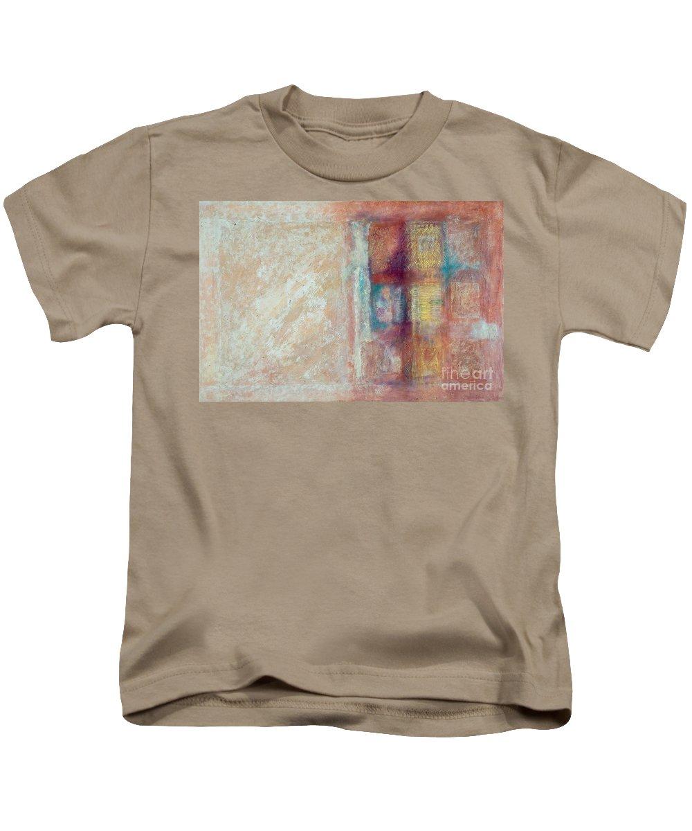 Mixed-media Kids T-Shirt featuring the painting Spirit Matter Cosmos by Kerryn Madsen-Pietsch