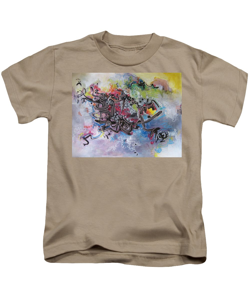 Abstract Painting Kids T-Shirt featuring the painting Spring Fever8 by Seon-Jeong Kim