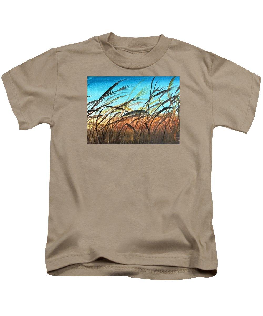 Evening Kids T-Shirt featuring the painting The Evening Light by Sigita Smetonaite