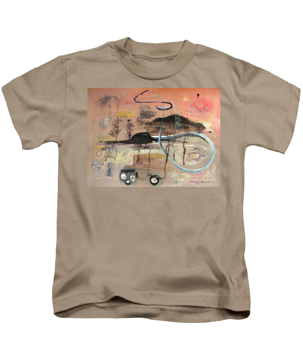 Acrylic Paper Canvas Abstract Contemporary Landscape Dusk Twilight Countryside Kids T-Shirt featuring the painting The Tempo Of A Day by Seon-Jeong Kim