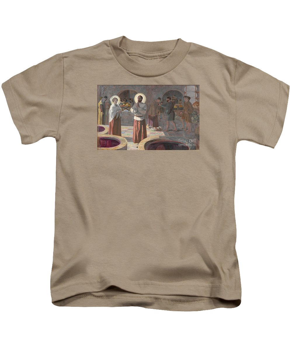 The Wedding At Cana Kids T-Shirt featuring the painting The Wedding At Cana by MotionAge Designs