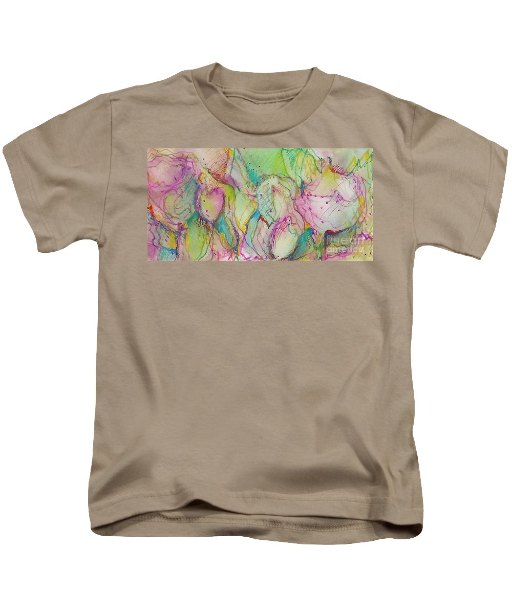 Abstract Kids T-Shirt featuring the painting Two Lips by Jan Bennicoff
