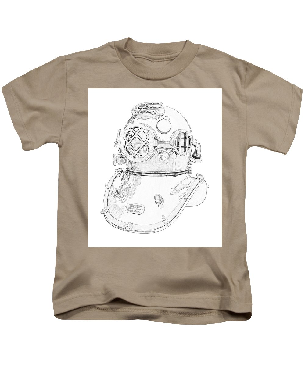 Us Kids T-Shirt featuring the digital art Us Navy Diving Helmet Mark V by PixBreak Art