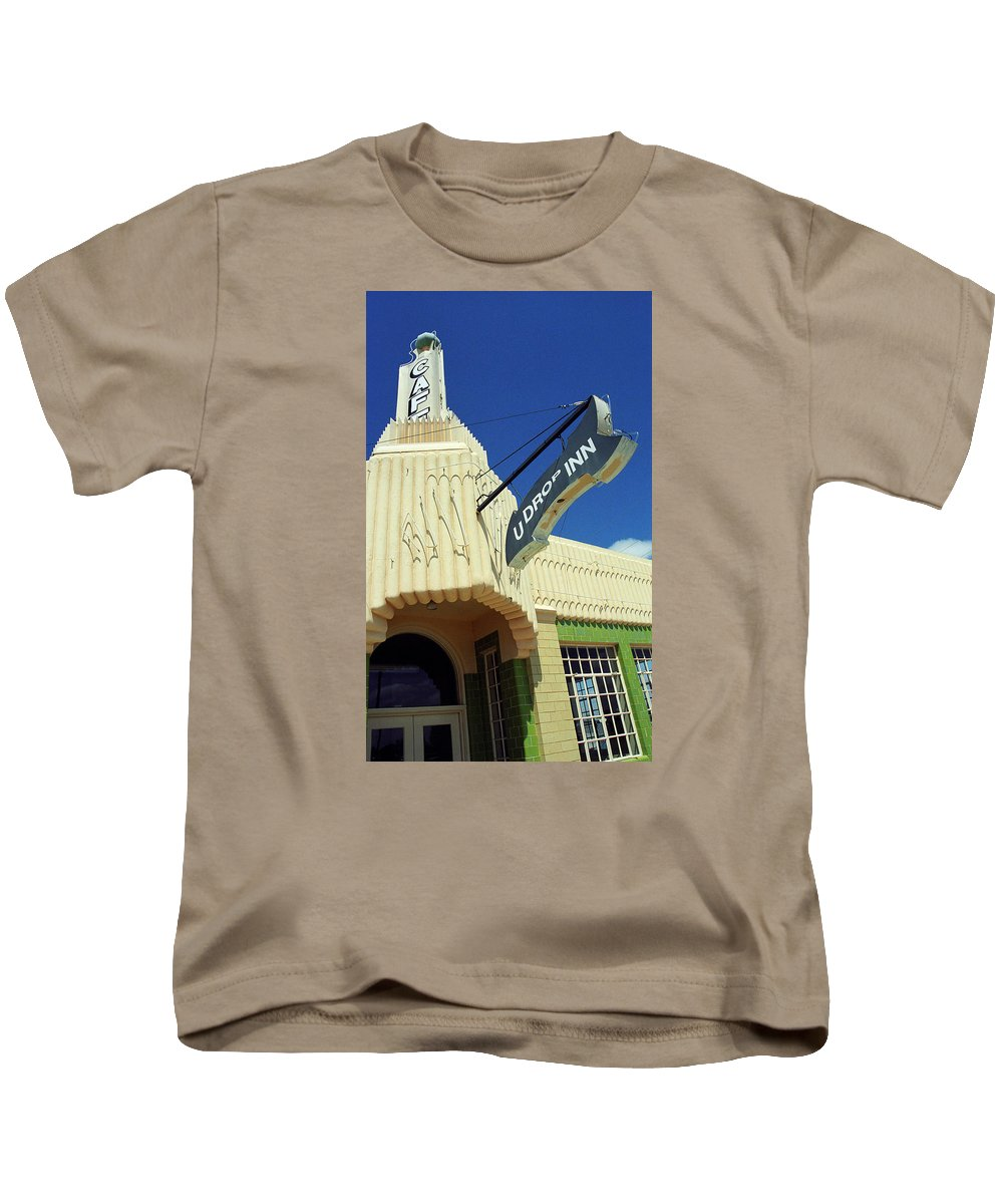 66 Kids T-Shirt featuring the photograph Route 66 - Conoco Tower Station by Frank Romeo