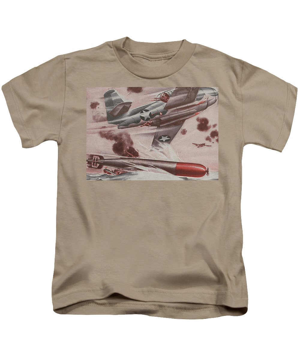 Plane Kids T-Shirt featuring the painting World War II Advertisement by American School