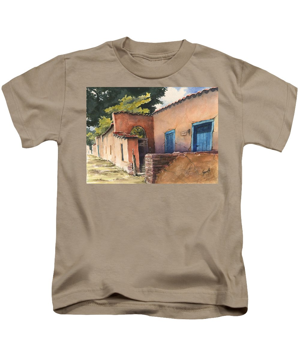 Adobe Kids T-Shirt featuring the painting 1247 Agua Fria Street by Sam Sidders