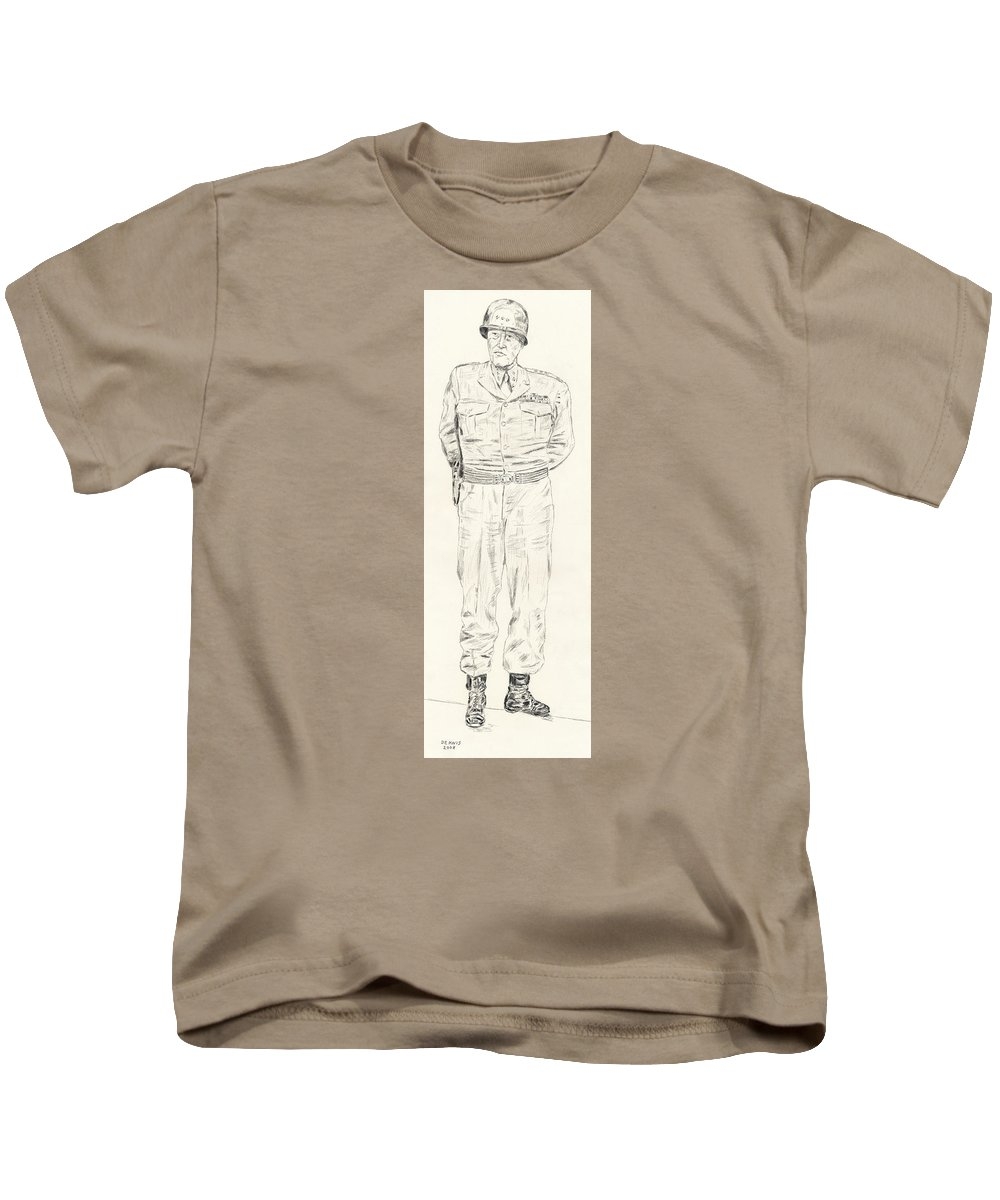 George Patton Kids T-Shirt featuring the drawing George Patton by Dennis Larson