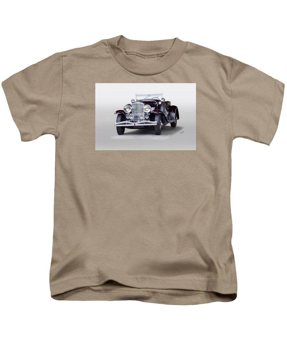 Auto Kids T-Shirt featuring the photograph 1935 Duesenberg Sj Roadster by Dave Koontz