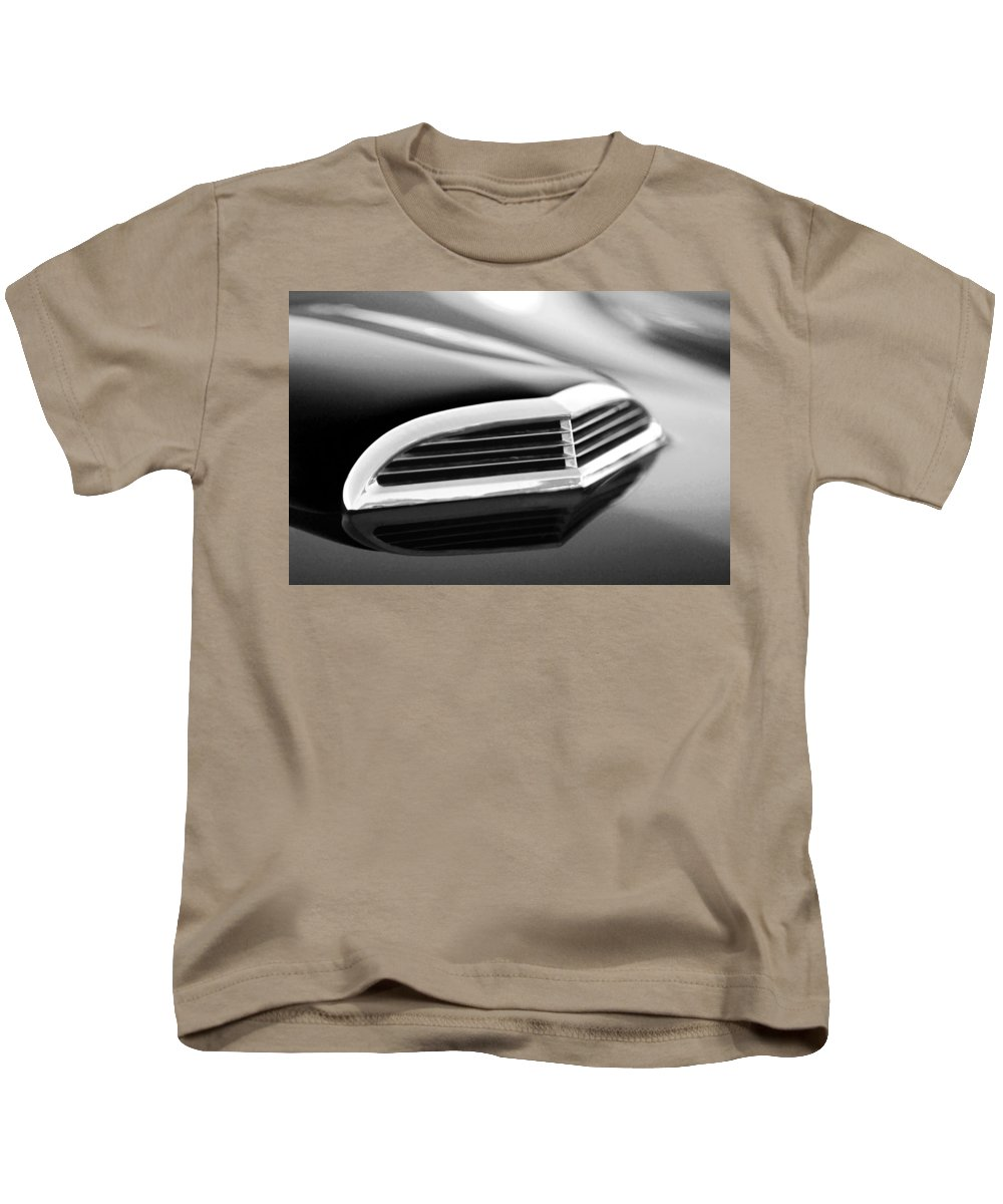 Transportation Kids T-Shirt featuring the photograph 1957 Thunderbird Scoop Black And White by Jill Reger