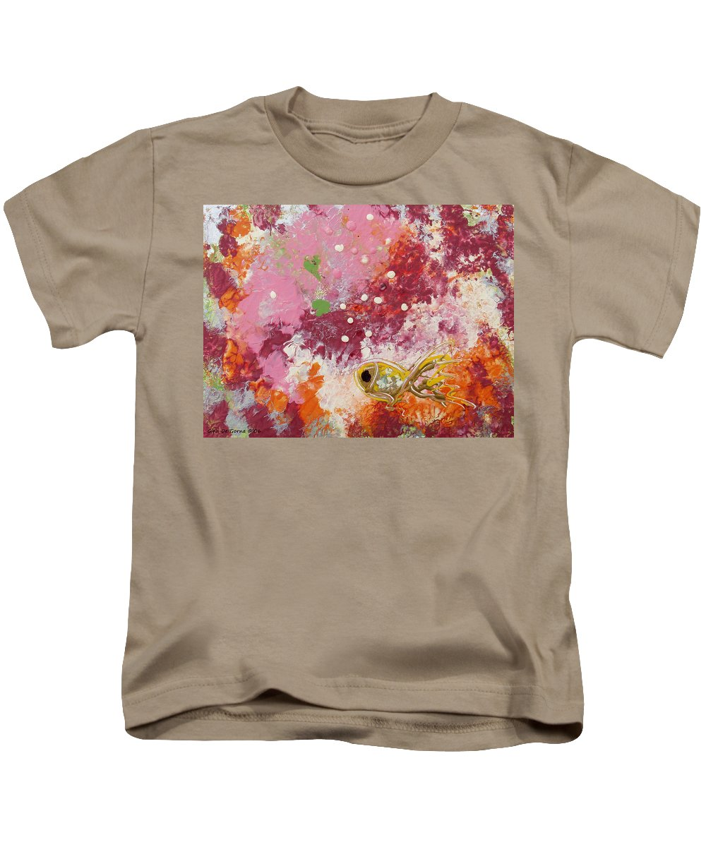Fish Kids T-Shirt featuring the painting 1 Gold Fish by Gina De Gorna