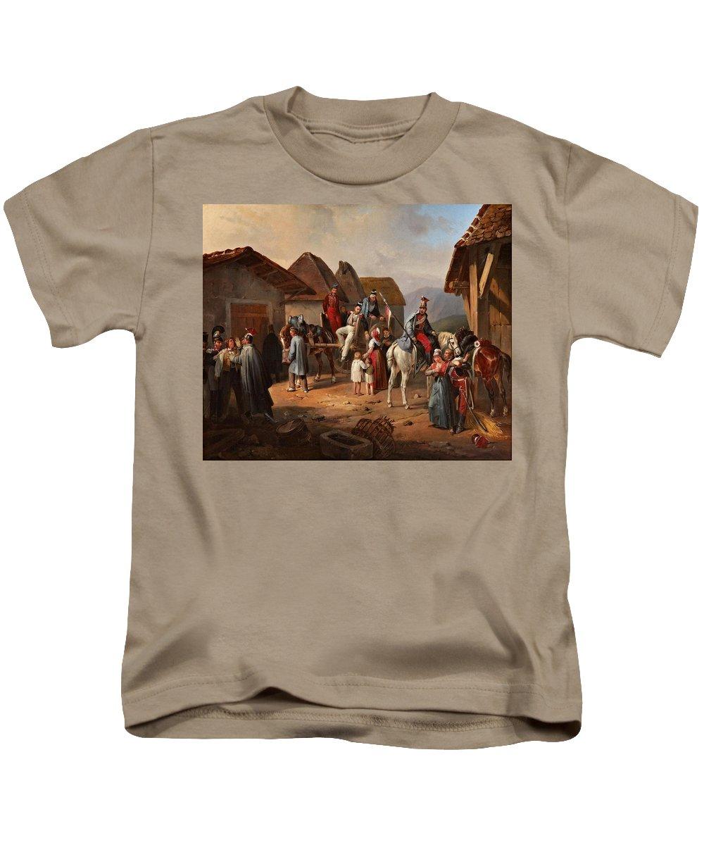 Albrecht Adam (n�rdlingen 1786 - Munich 1862) Kids T-Shirt featuring the painting Austrian Cavalry Resting In A Village by Albrecht Adam