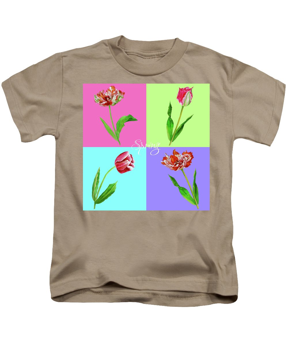 Bouquet Kids T-Shirt featuring the digital art Background With Tulips by Natalia Piacheva