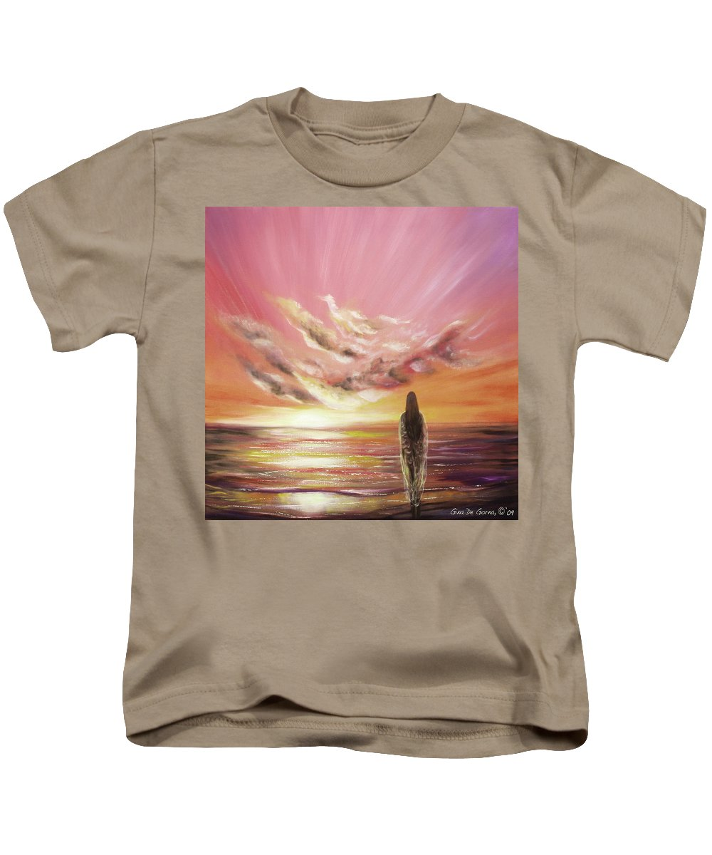 Sunset Kids T-Shirt featuring the painting Beyond The Sunset by Gina De Gorna