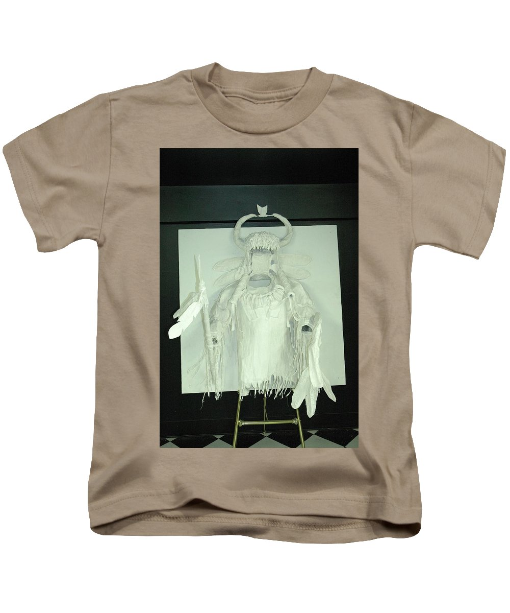 Kids T-Shirt featuring the sculpture Charles Hall - Creative Arts Program - Spirits Of The Plains by Wayne Pruse