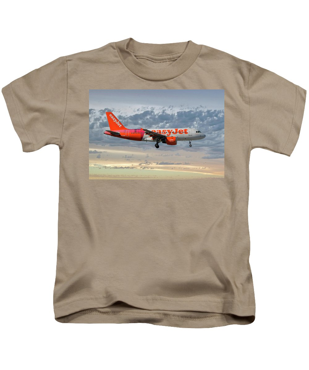 Easyjet Kids T-Shirt featuring the photograph Easyjet Tartan Livery Airbus A319-111 by Smart Aviation