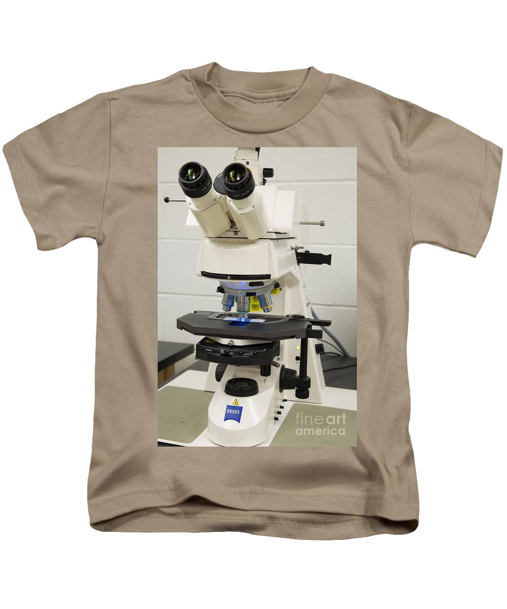 Science Kids T-Shirt featuring the photograph Laboratory Fluorescent Microscope by Ted Kinsman