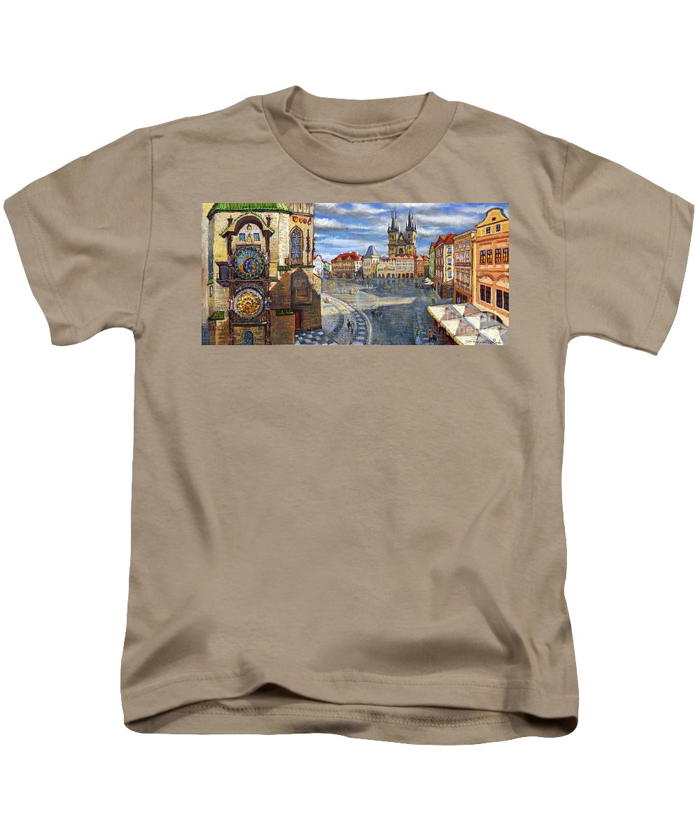 Pastel Kids T-Shirt featuring the painting Prague Old Town Squere by Yuriy Shevchuk