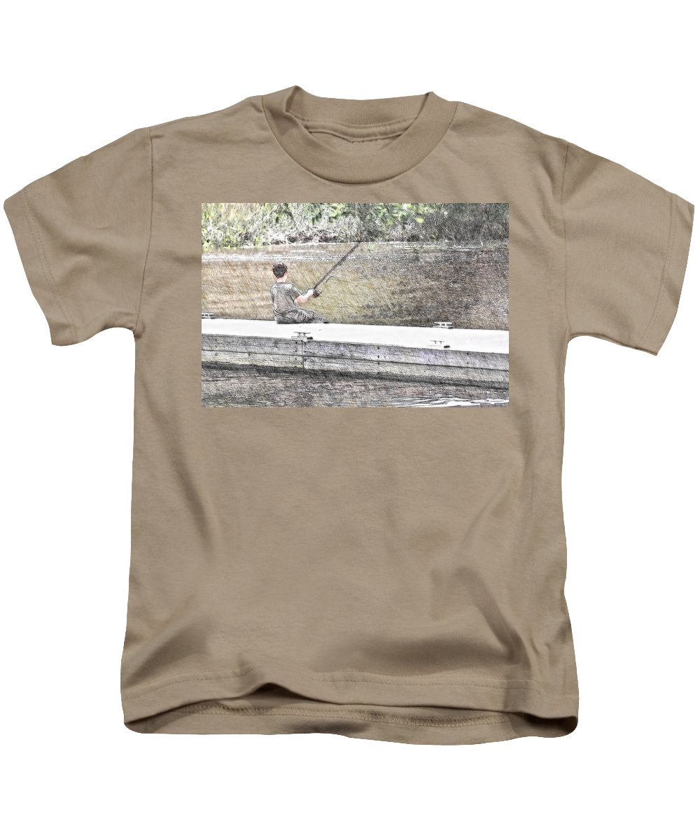 Fishing Kids T-Shirt featuring the photograph Sitting On The Dock by Donna Bentley