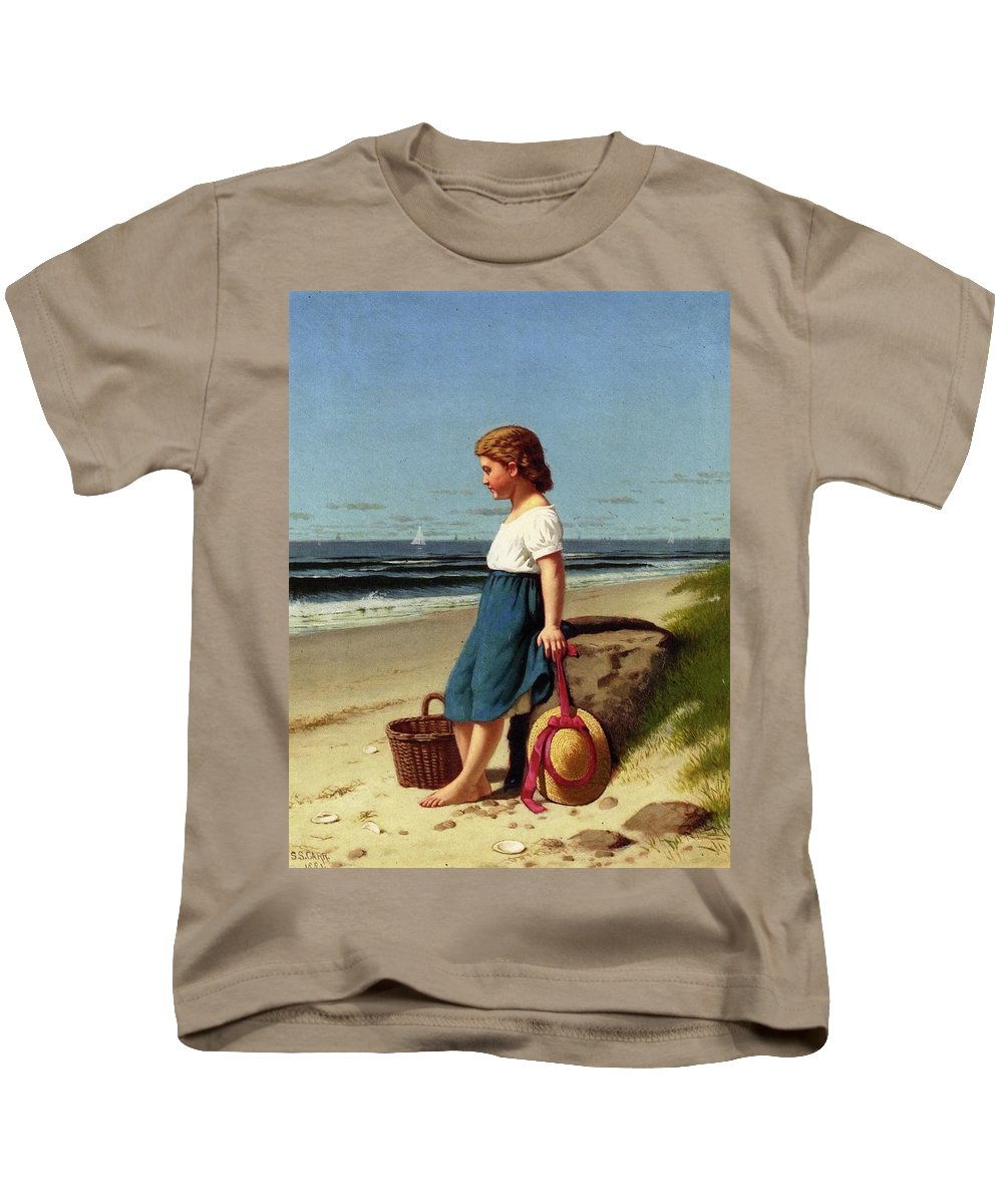 Young Girl At The Seashore By Samuel S Carr Kids T-Shirt featuring the painting Young Girl At The Seashore by Samuel S Carr