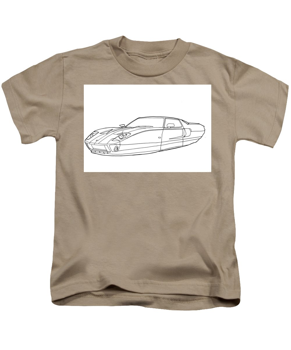Hover Car Kids T-Shirt featuring the drawing 2102 Ford Gt by Nate Petterson