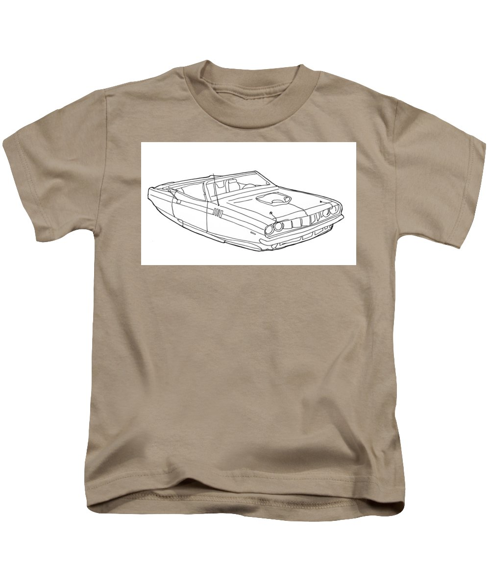 Hover Car Kids T-Shirt featuring the drawing 2173 Hemi Cuda by Nate Petterson