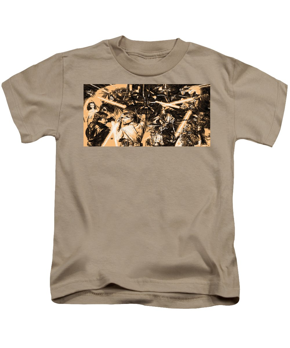 Star Wars Kids T-Shirt featuring the digital art Star Wars Episode Art by Larry Jones
