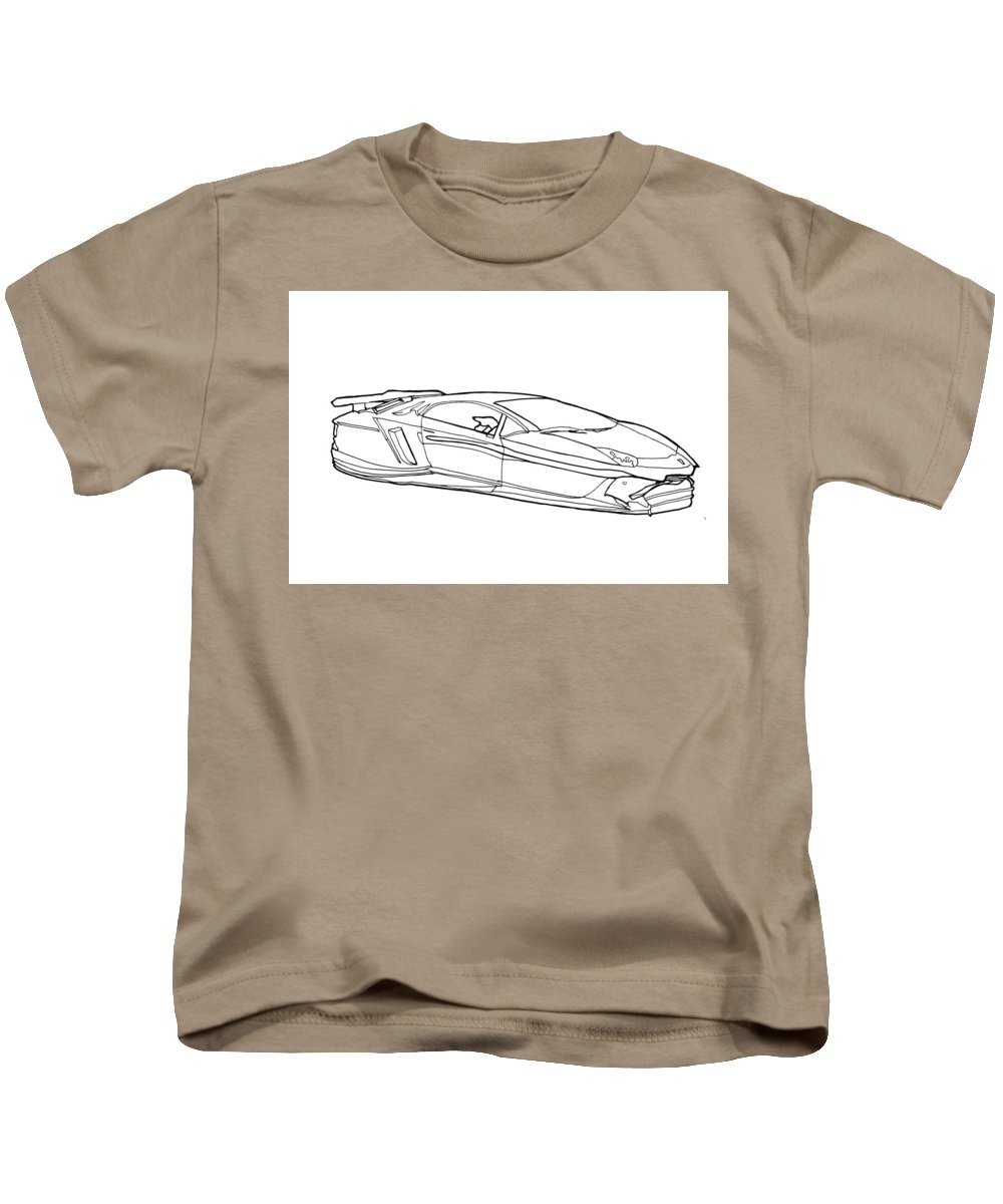 Hover Car Kids T-Shirt featuring the drawing 2321 Mclaren Rocket V by Nate Petterson