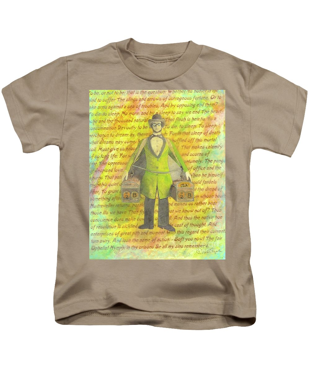 Yellow Kids T-Shirt featuring the mixed media 2b Or Not 2b by Desiree Paquette